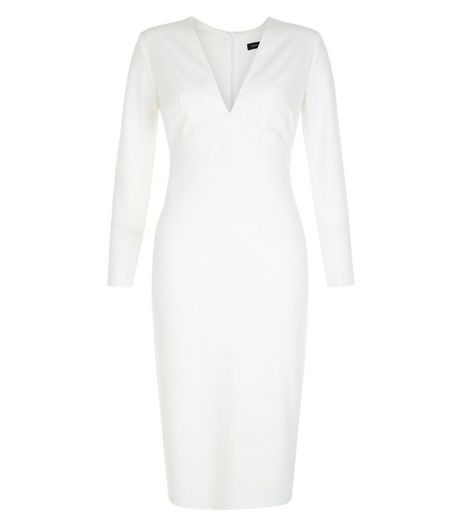 White V Neck Long Sleeve Bodycon Dress  | New Look