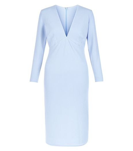 Light Blue V Neck Long Sleeve Bodycon Dress  | New Look