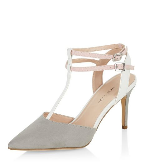 Wide Fit Grey Suedette Double Ankle Strap Heels  | New Look