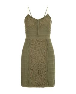 Khaki Contrast Lace Strappy Bodycon Dress  | New Look