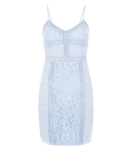 Light Blue Contrast Lace Strappy Bodycon Dress  | New Look