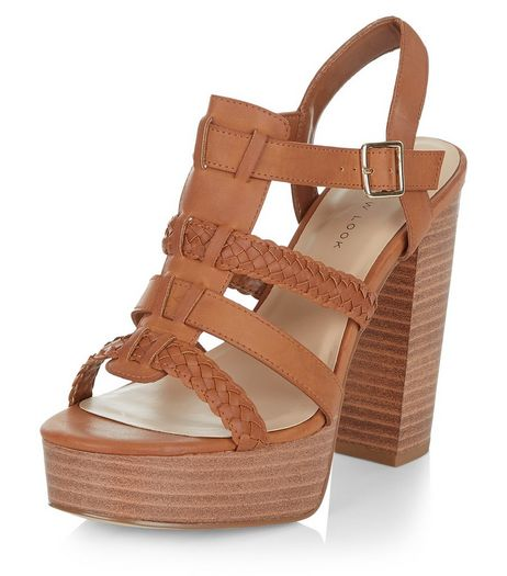 Wide Fit Tan Leather-Look Gladiator Sandals | New Look