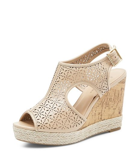 Wide Fit Camel Laser Cut Out Wedge Sandals  | New Look