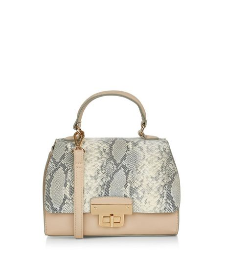 Stone Snakeskin Print Panel Mini Bag  | New Look