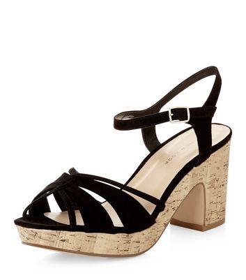 Sandalo  donna Wide Fit Black Cross Strap Block Heels