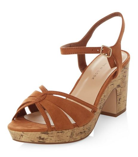Wide Fit Tan Cross Strap Block Heels | New Look