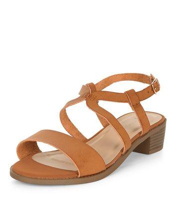 Sandalo  donna Wide Fit Tan Cross Strap Sandals