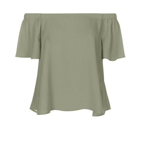 Khaki Bardot Neck Top | New Look