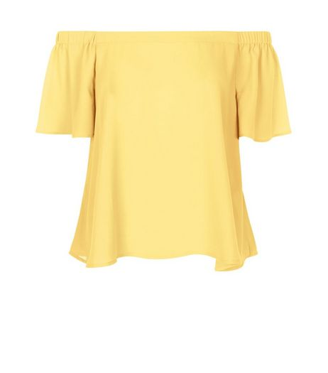 Yellow Bardot Neck Top | New Look
