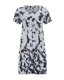 Blue Vanilla Grey Hummingbird Print Tunic | New Look