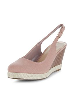 Stone Canvas Sling Back Espadrille Wedges  | New Look