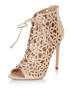 Stone Floral Cut Out Ghillie Heels  | New Look