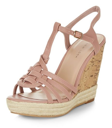 Stone Cross T-Bar Strap Espadrille Wedges  | New Look