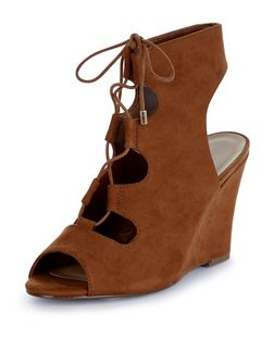 Tan Suedette Peeptoe Ghillie Wedges  | New Look