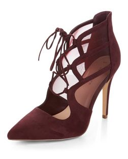 Dark Red Suedette Mesh Panel Ghillie Heels  | New Look