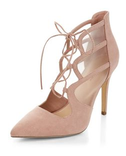 Stone Suedette Mesh Panel Pointed Ghillie Heels  | New Look