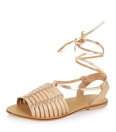 Stone Leather Lace Up Sandals | New Look