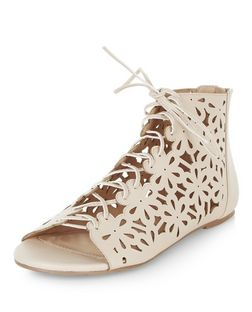 Stone Faux Leather Laser Cut Out Ghillie Sandals | New Look