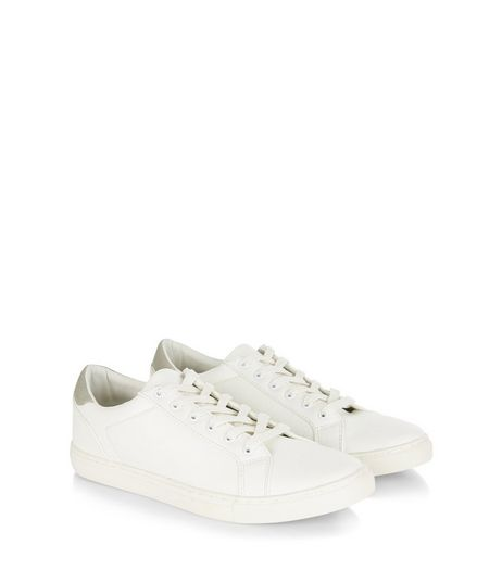 White Leather-Look Trainers  | New Look