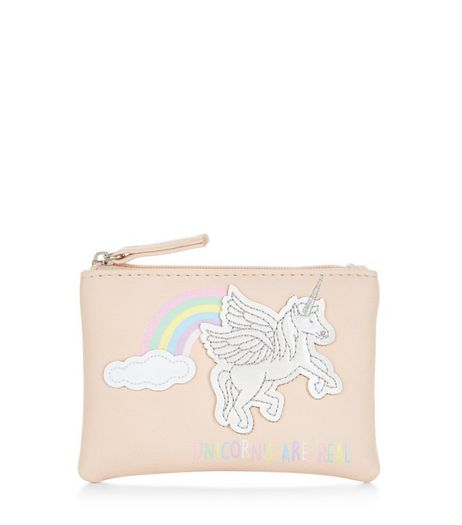 Stone Rainbow Unicorn Zip Top Coin Purse  | New Look