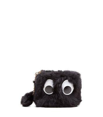 Black Faux Fur Googly Eyes Purse