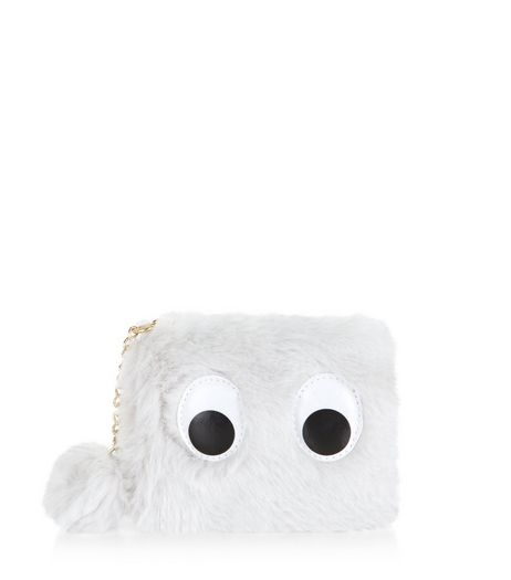 Grey Faux Fur Googly Eyes Purse | New Look