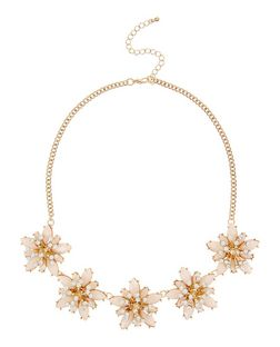 Pink Embellished Flower Necklace | New Look