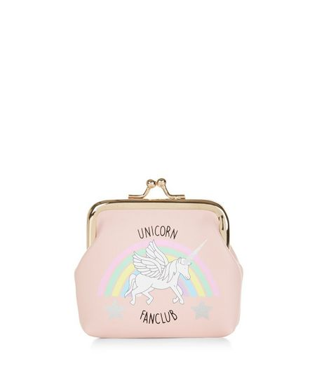 Pink Unicorn Fan Club Clip Top Coin Purse  | New Look