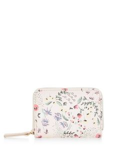 Shell Pink Orchid Floral Print Zip Top Card Holder  | New Look