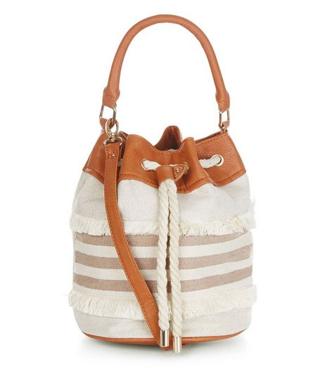Stone Fray Stripe Duffle Bag  | New Look