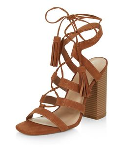 Tan Suede Tassel Ghillie Block Heels  | New Look