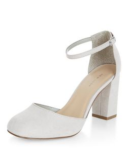 Grey Suedette Ankle Strap Block Heels  | New Look