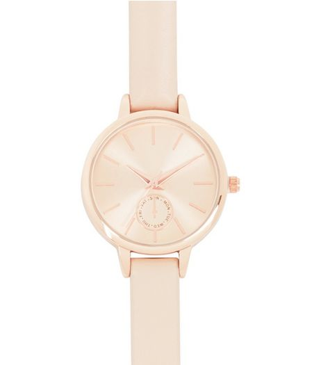 Pink Leather-Look Skinny Strap Watch | New Look