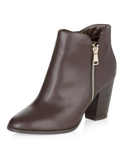 Wide Fit Dark Brown Block Heel Western Boots  | New Look