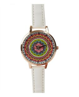 White Neon Aztec Print Face Watch | New Look