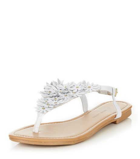 Teens White Floral Sandals | New Look