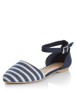 Wide Fit Blue Stripe Pointed Ankle Strap Pumps  | New Look