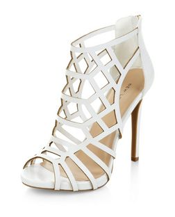 White Laser Cut Out Peep Toe Heels  | New Look