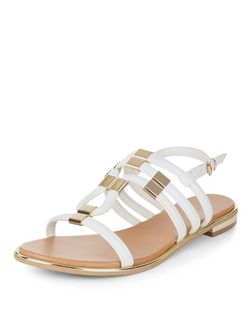 White Metal Trim Sling Back Sandals  | New Look