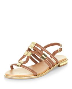 Tan Metal Trim Sling Back Sandals  | New Look