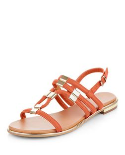 Bright Orange Metal Trim Sling Back Sandals  | New Look