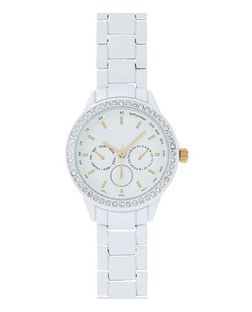 White Diamante Sports Watch  | New Look