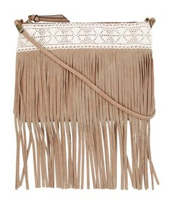 Stone Crochet Tassel Trim Across Body Bag  | New Look