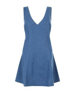 Blue Denim V Neck Skater Dress  | New Look