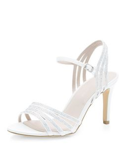 Wide Fit Cream Bridal Embellished Strappy Heels  | New Look