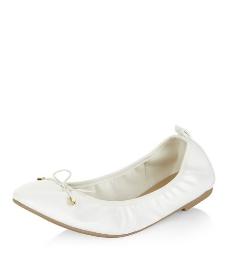 Wide Fit White Elasticated Ballet Pumps  | New Look