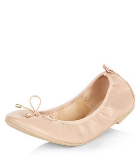 Wide Fit Stone Elasticated Ballet Pumps  | New Look