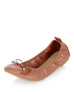 Wide Fit Tan Patent Elasticated Ballet Pumps | New Look