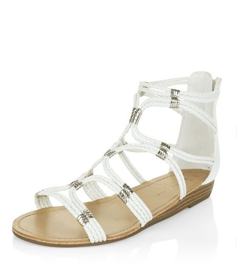 Wide Fit White Plaited Strap Sandals  | New Look