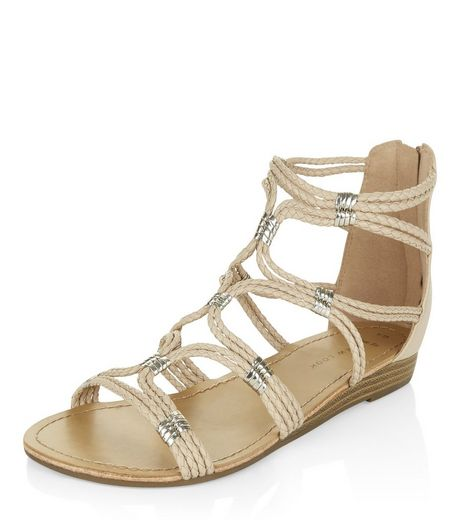 Wide Fit Stone Plaited Strap Sandals  | New Look